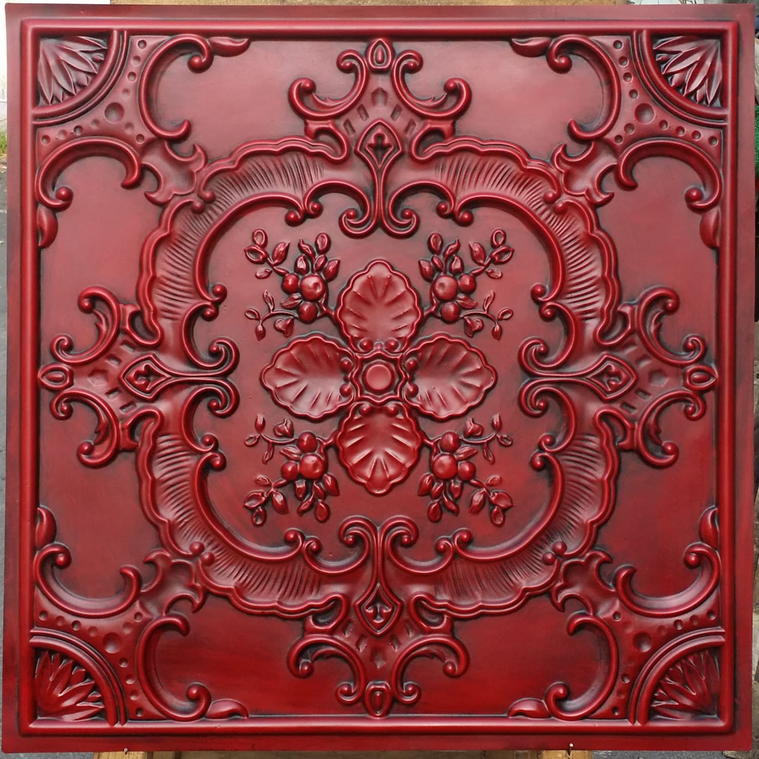 Pl19 faux tin finishes artistic style antique red ceiling zoom dailygadgetfo Image collections