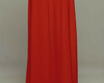 Red Saree Petticoat - Drawstring Pull-On Maxi Skirt
