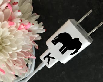 ELEPHANT and INITIAL Decal for Charger and Cord