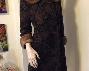 Vintage 1960s MOD Black Brown Tapestry Mod Classic Girl Coat  Genuine Mink fur trim collar size Small Medium