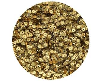 6mm Cup Sequins Facet Paillettes Metallic Gold Semi Matte