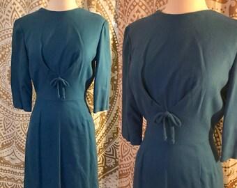 VTG 40s Blue Wool WWII Era Fitted Rockabilly Kitten Bow Dress XS