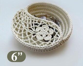 "Crochet pattern 6"" Yin Yang jewelry dish, crochet home decor, crochet storage. instant download Mothers day gift ideas. Crochet basket."