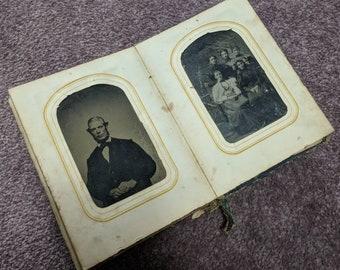 Beautiful FULL family Victorian era CDV and tintype photo album 50 photos including a few hidden mother 10 tintypes 40 cdvs