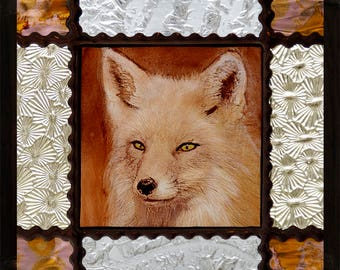 Fennec suncatcher, Fennec fox stained glass, kilnfired stained glass, fennec, fennec fox, fennec glasspainting, fox suncatcher, lovely gift
