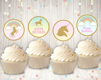 "INSTANT DOWNLOAD Printable Unicorn 2"" Circle Cupcake Toppers / Birthday Party / Unicorn & Rainbows Collection / Item #3522"