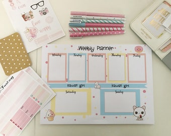 Desk Planner A4 kawaii-weekly agenda kawaii A4 style