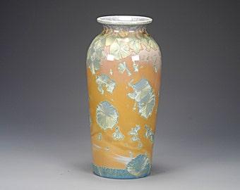 Porcelain Vase - Crystalline Glaze -  Golden Tan, Multicolors - Hand Made Ceramics - FREE SHIPPING - #E-1-5448