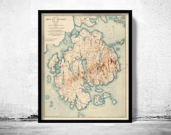 Old Map of Mount Desert Island Maine 1896 Vintage Map