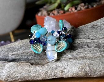 Moonstone Necklace - Blue Beaded Necklace - Rainbow Moonstone Jewelry - Wire Wrapped Gemstone Necklace - Boho Gypsy Jewelry Hippie Necklace
