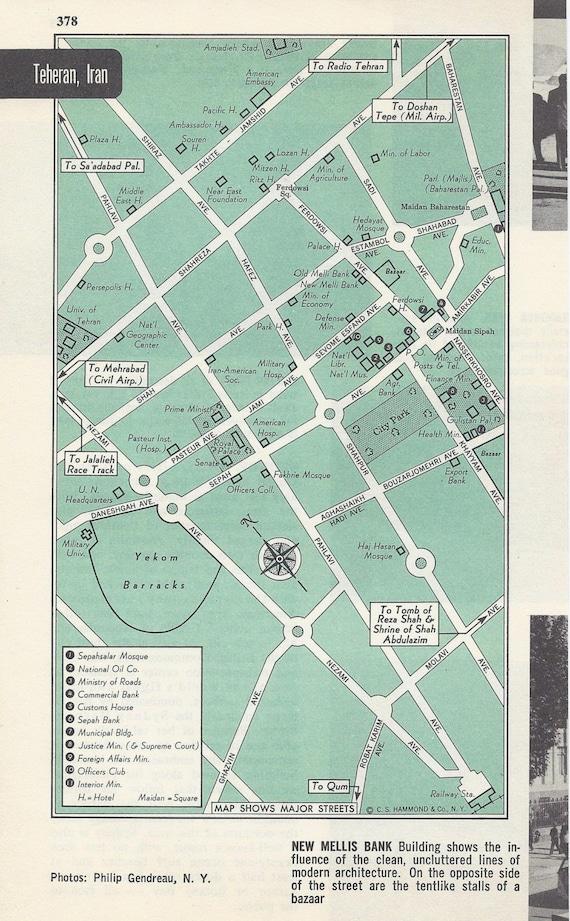 Tehran Iran Map City Map Street Map 1950s Green Black and
