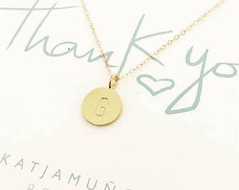 Gold initial necklace, personalized jewelry, custom hand stamped, short goldnecklace, letter necklace, gold dot necklace, name necklace