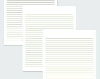 Shades Of Green Lined Paper / Writing paper / Digital Paper / Line Paper / PDF