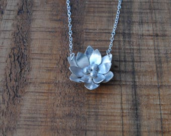 Gorgeous waterlily necklace in recycled sterling silver