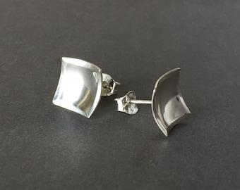 Medium Square Post Earrings - Medium Sterling Silver Post Earrigs