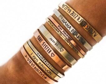 Personalized Cuff Bracelet, Latitude Longitude Bracelet, Quote Bracelet, Thin Cuff, Coordinates Bracelet Gold Cuff, Engraved Bracelets, Gift
