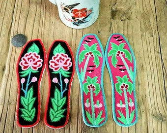 Men And Women Embroidery Insoles,Four Seasons,Cotton Hand Embroidery Finished,Breathable,Sweat,Deodorant, Gifts