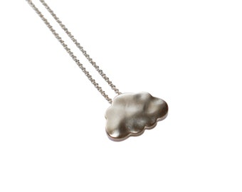 Rain Cloud Necklace, Silver Cloud Pendant, Tiny cloud necklace