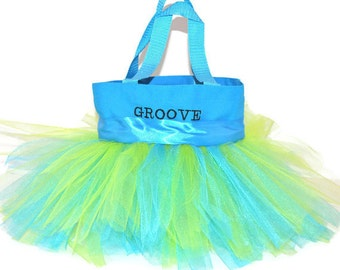 Easter Basket, Fairy Party Favors Bag, Light Blue Bag, Dance Bag, Princess Tutu bag, Gift Tote Bag, Personalized Dance Bag, Tutu Ballet Bag
