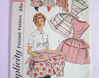 Vintage Simplicity Apron Sewing Pattern in Small - 1950s