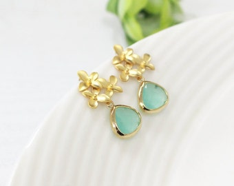 mint earrings, Cherry Blossom Flower Post Earrings,bridesmaid Earrings,Gold Fashion Earrings Silver Post, bridesmaid gifts, wedding jewelry