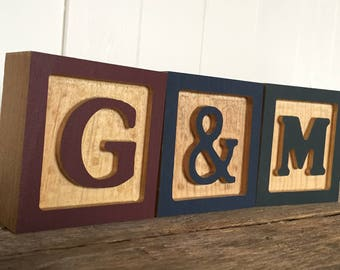 Wooden Letter Blocks, Wooden Alphabet Block, ABC Block, Child's Room Decor, Nursery Decor, Baby Shower Gift
