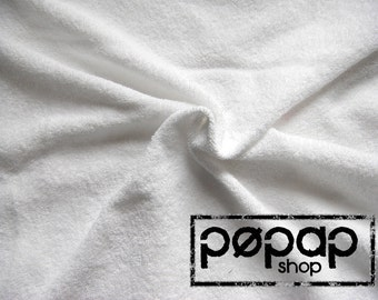 Cotton Terry Toweling Fabric -Terry Towelling - White - Extra Wide 180cm - Very flexible Terry Cloth fabric