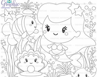 Mermaid Stamps, Fairy Tale Stamps, Princess Stamps, COMMERCIAL USE, Little Mermaid, Mermaid Coloring Page, Sea Stamps, Ocean Stamps