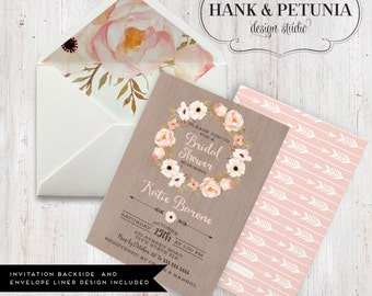 Rustic Boho Bridal Shower Invitation