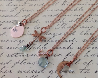 Delicate Rose Gold Gemstone Charm Necklace / Layering / Trending / Fashion / Gift / Women's/ Bridal / Wedding / Present