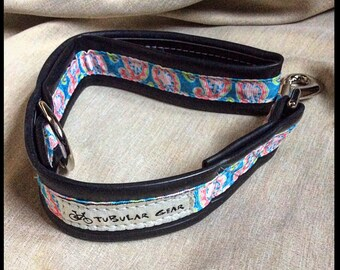 Dog Leash City Lead- Pink and blue paisley print