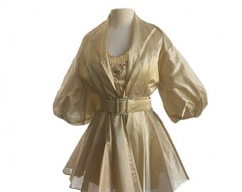 Vintage 80s Yolanda gold party dress & jacket/ sequined mini dress/ Yolanda Designer's collection/ puffy sleeve/ metallic prom dress/ XS