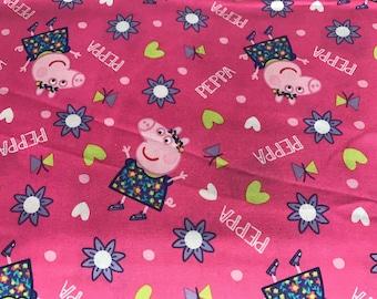 Nick Jr. Peppa Pig pink fabric featuring Peppa,cartoon fabric, preschool fabric, pig fabric, kids fabric