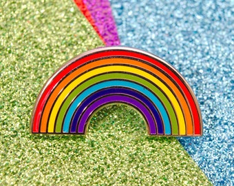 Rainbow Enamel Pin Badge | Pin Badges | Hard Enamel Pin Badge | Weather Pin Badge | Rainbow Badge Gift