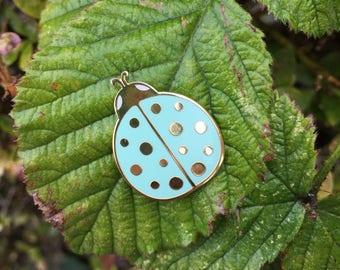 Mint Ladybird enamel pin / mint and gold enamel pin / ladybug enamel pin / bug lapel pin / hard enamel pin / ladybird badge