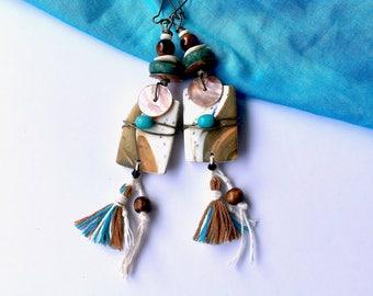 Bohemian earrings, reef, ethnic earrings, tribal Boho earrings, Hippie, unique, handmade, Bohemian, unique, french