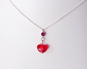 RED HEART NECKLACE - Swarovski Crystal Heart Necklace - Crystal Heart Necklace - Swarovski Necklace - Delicate Silver Chain Necklace