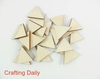 "Wood Triangles Isosceles Laser Cut Blanks Jewelry Earrings Pendant Shapes 1 1/8"" H 1 1/4"" Sides - NO Hole - 25 Pieces"