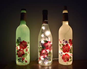 Hand Painted Flowers Wine Bottle Lamps