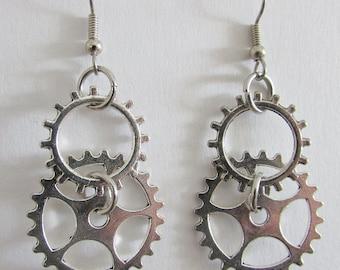 Steampunk Jewelry Dangle Earrings, Silvertone Gears, Surgical Steel Ear Wires