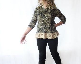 tshirt with lace ruffle, paisley, size medium large, boho, all cotton, OOAK, feminine, upcycled Jones NY, shawl collar, 3/4 sleeves