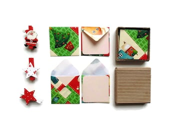 Merry Christmas Mini Stationery Set - Cute Handmade Envelopes, Gifts, Pink Cards, Blank Note Cards, Greetings, Gifts Under 15, Tags