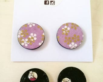 Button earrings made of Japanese Chiyogami paper.