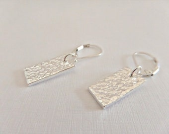 Silver rectangle earrings, Fine silver earrings, Hammered earrings, 925 earrings, Textured earrings, Silver dangle earrings, UK seller