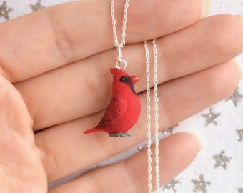 Hand Sculpted Cardinal Bird Pendant with Chain