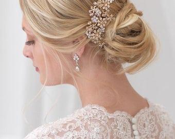 Gold Haare kämmen, Floral Hochzeit Haarschmuck, Kristall Braut Haarkamm Kamm, Champagner, Kristall-Haar-Clip, Haarkamm für Hochzeit ~ TC-740