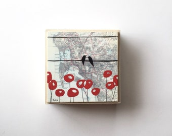 San Diego Map with Cute Bird Painting // 6x6 Map Art Framed on Wood