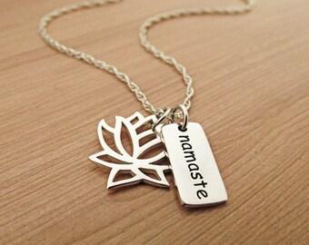 Lotus Namaste Necklace, Silver Necklace, Sterling Silver,  Yoga Necklace, Om