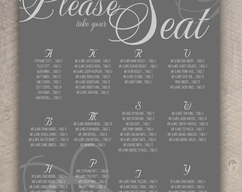 PLEASE take your SEAT Wedding Seating Chart  (printable) (any size)
