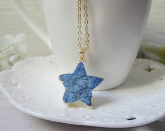 blue star Druzy Necklace, Winter Jewelry, Gift for Her, Raw Crystal Necklace 809